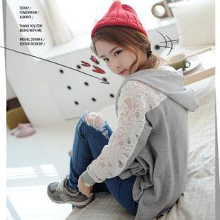 T006938 Koreans Cotton Lace Stitchings  Bats Sleeve Cape style Hooded