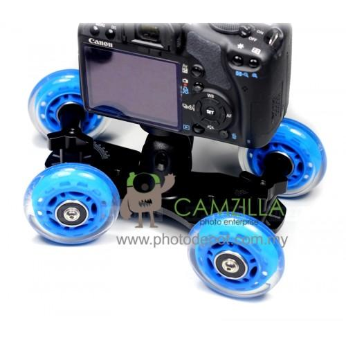 TableTop Compact Dolly Kit Skater Wheel Camera Truck Stabilizer