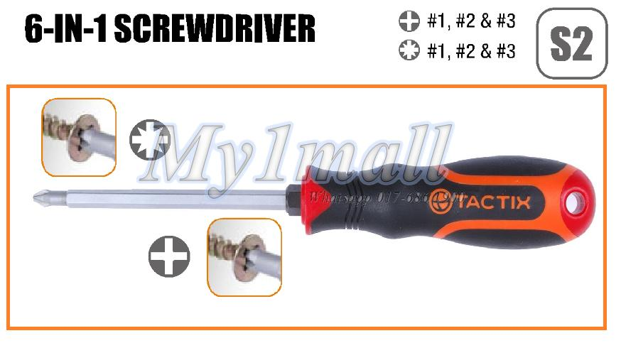 TACTIX 205201 SCREWDRIVER 6 IN 1 PH & PZ 100MM