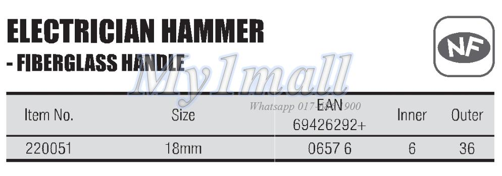 TACTIX 220051 HAMMER ELECTRICIAN 18MM