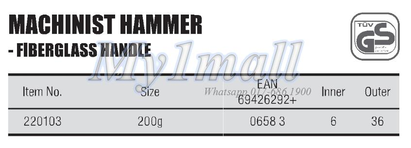 TACTIX 220103 HAMMER MACHINIST 200G