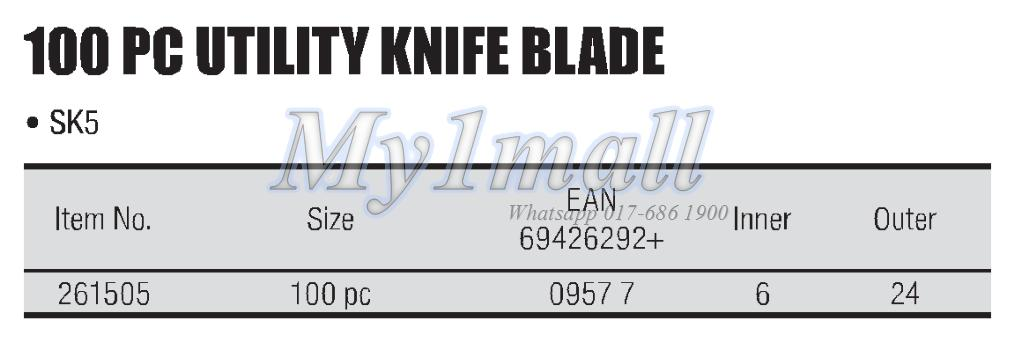 TACTIX 261505 KNIFE BLADE UTILITY 100PC