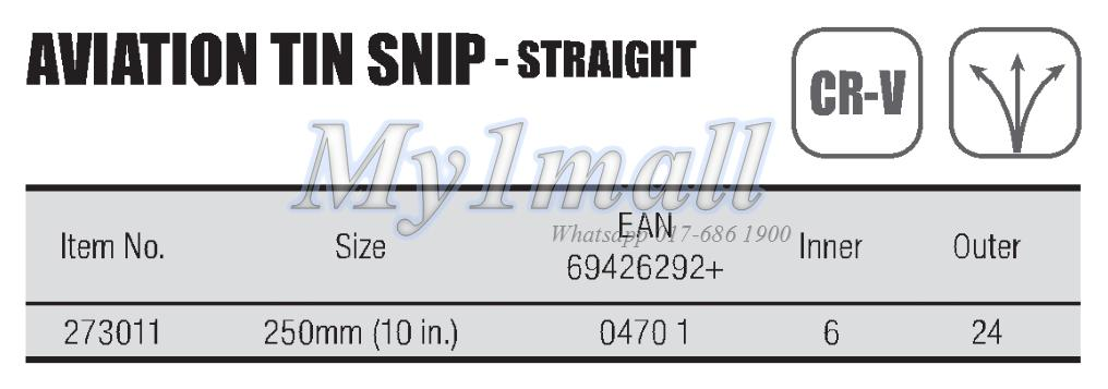 TACTIX 273011 AVIATION TIN SNIP STRAIGHT