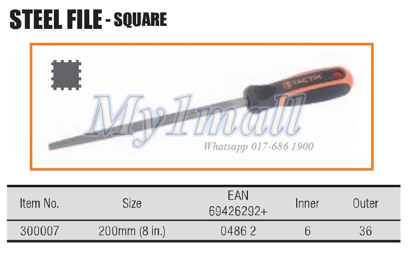 "TACTIX 300007 200MM/8"" SQUARE STEEL FILE"