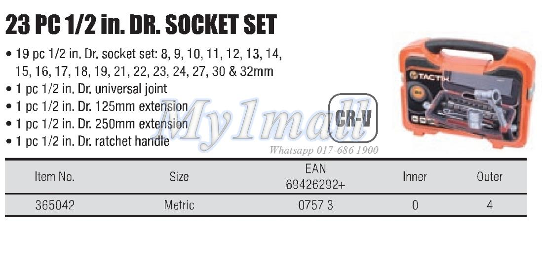 "TACTIX 365042 SOCKET SET 23PC 1/2""DR"