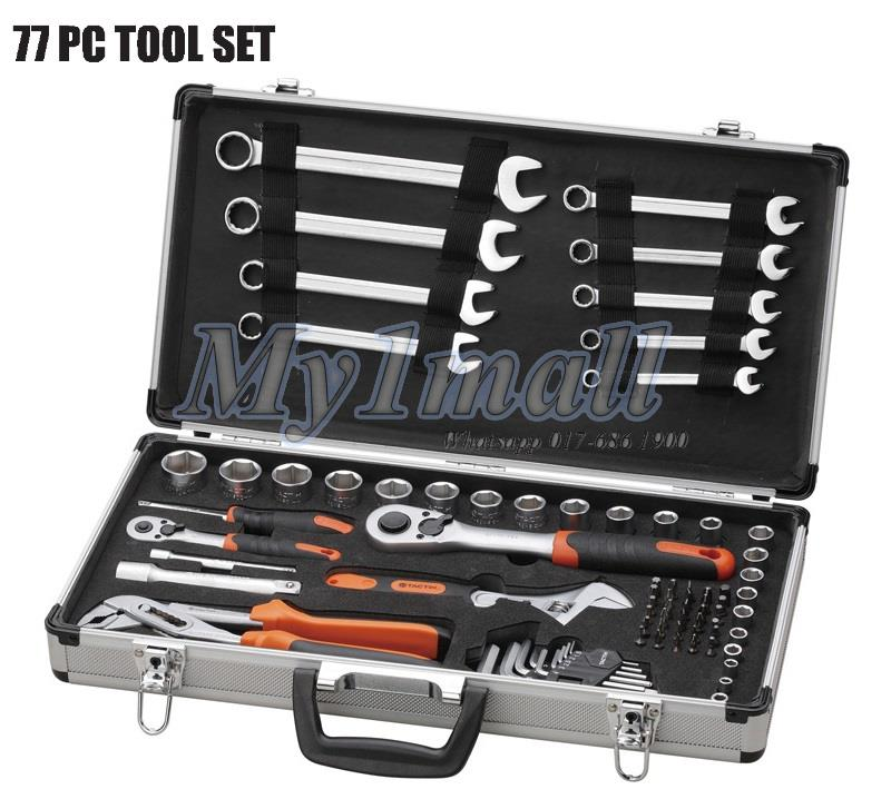 TACTIX 365046 SOCKET & TOOL SET 77PC