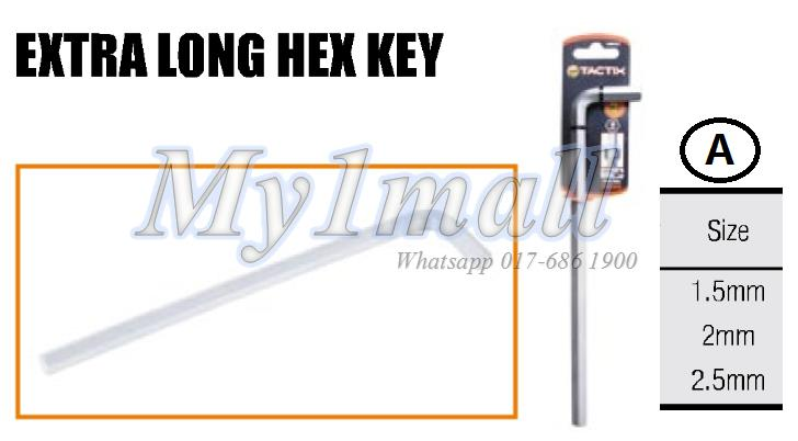 TACTIX HEX KEY EXTRA LONG 1.5mm,2.0mm,2.5mm(SET A)