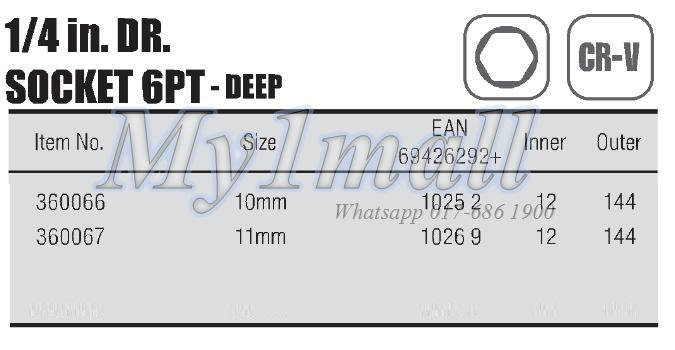 TACTIX SOCKET 1/4'DR 6PT DEEP-SET D