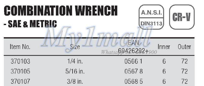 """TACTIX WRENCH COMBINATION 1/4"""",5/16"""",3/8""""-SET H"""