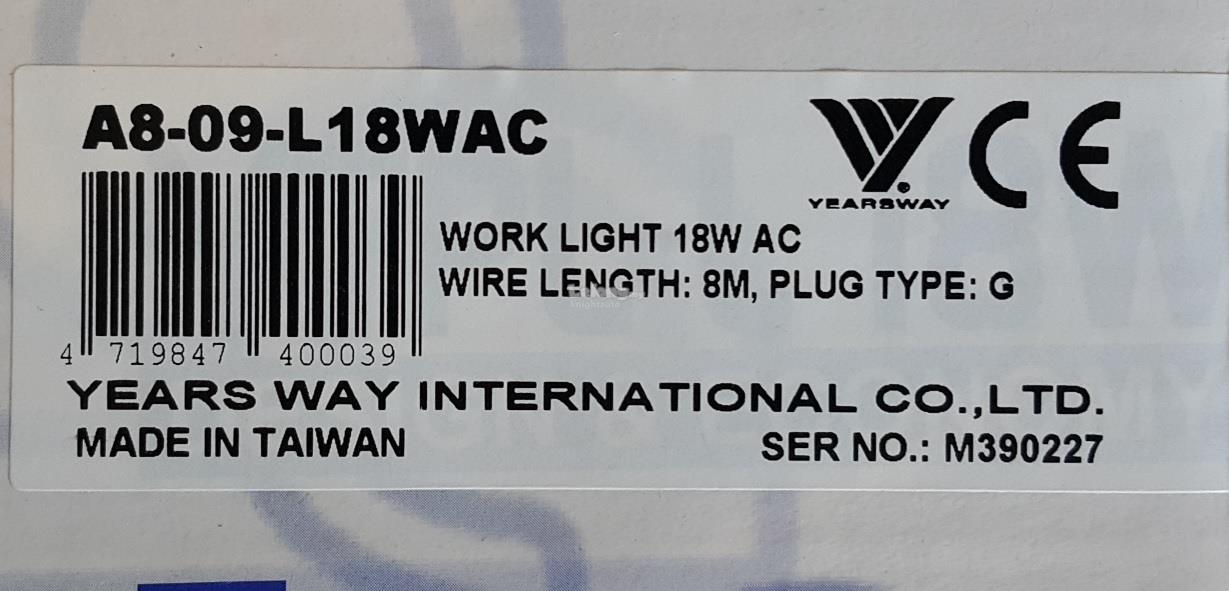 Taiwan Yearsway Work Light 18W ACID447224