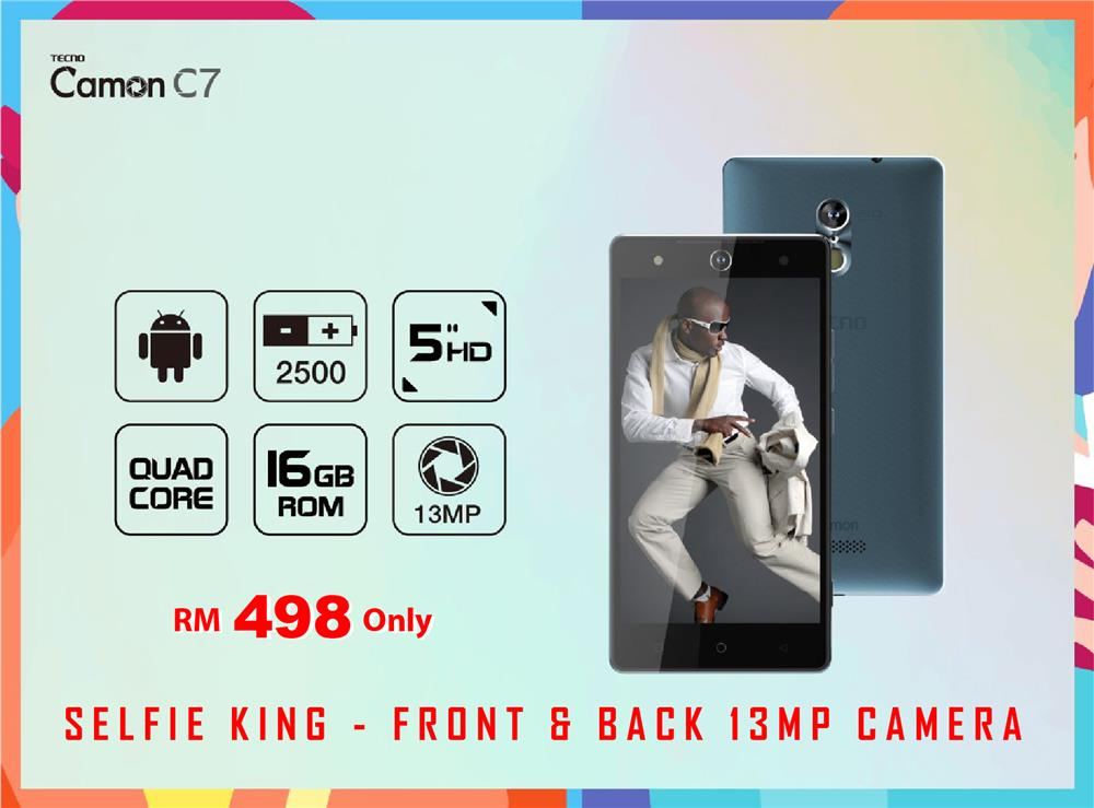 Tecno Camon C7 - 5 inches Smartphone SELFIE KING 13MP FRONT CAMERA