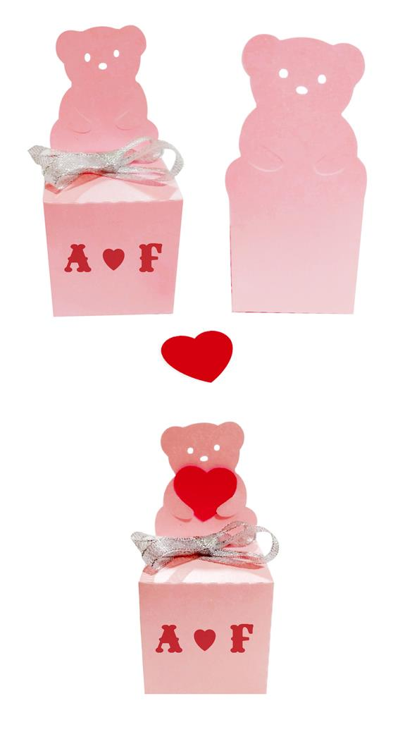 Teddy Bear Shaped Gift Box With Tag - Wedding Favor & More