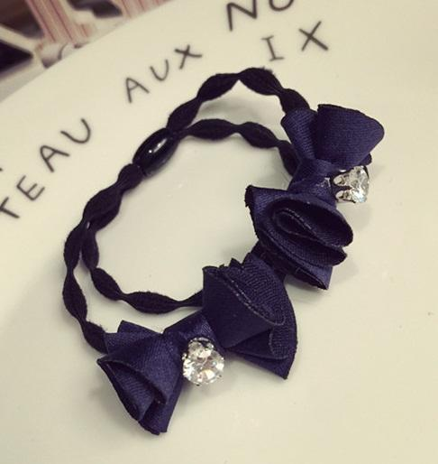 teekaafashion Korea Handmade Bow Flowers Rubber Band*Navy Blue