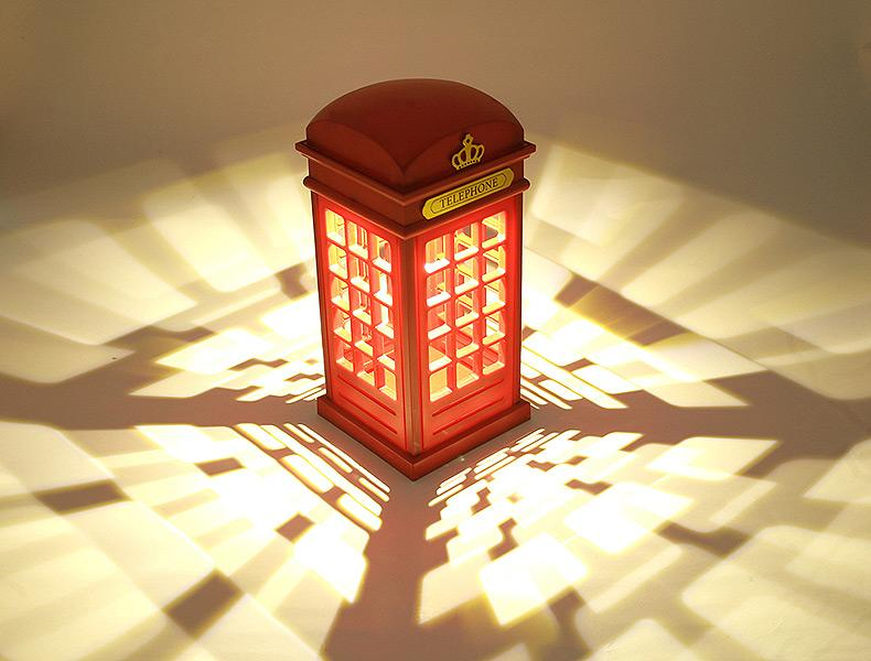 about telephone booth bedroom decorative table lamp night light. Black Bedroom Furniture Sets. Home Design Ideas