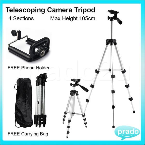Telescoping Camera Tripod Extendable 4 Sections Free Phone Holder
