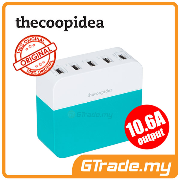 THECOOPIDEA 10.6A 5USB Charger BL Samsung Galaxy S6 Edge+Plus S5 S4