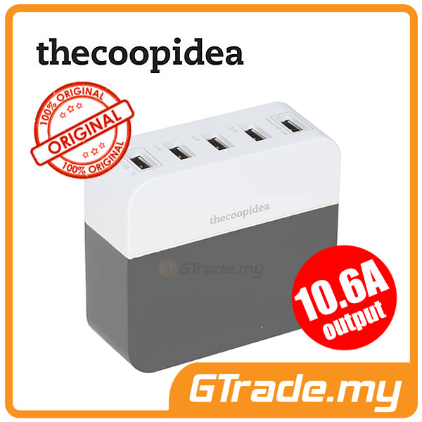 THECOOPIDEA 10.6A 5USB Charger Station GY Apple iPhone 6S Plus 5S 5C 5