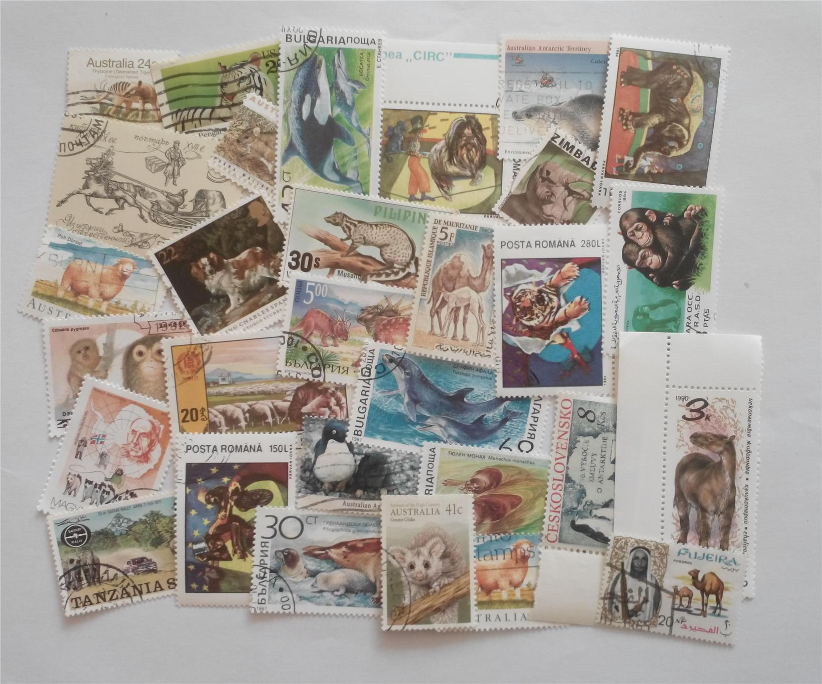 Themed stamps animals 30 pcs