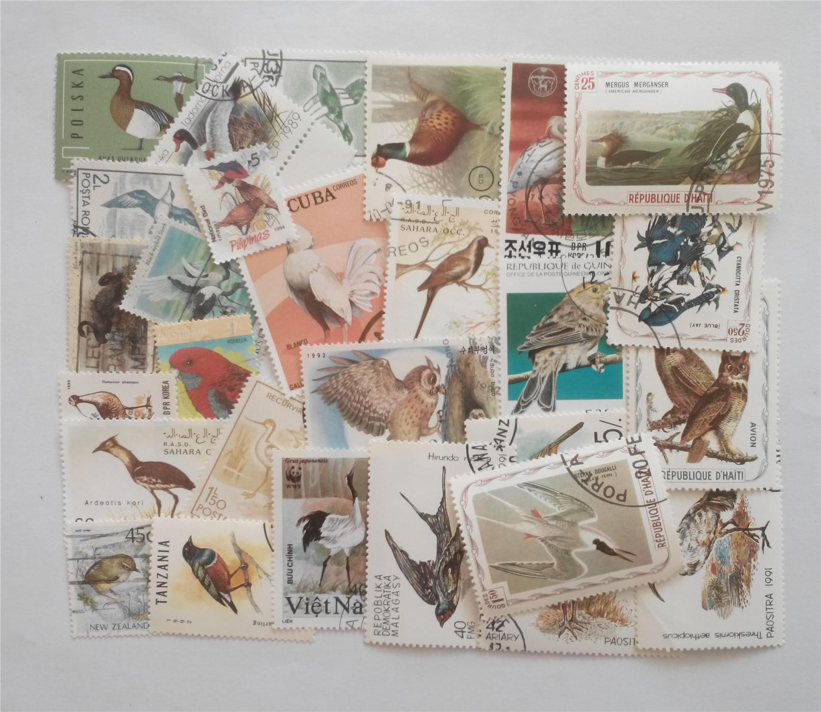 Themed stamps birds 30 pcs