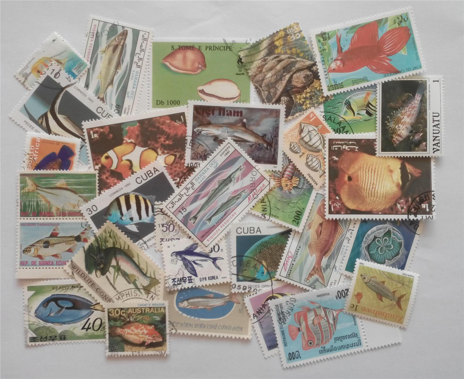 Themed stamps fishes 30 pcs