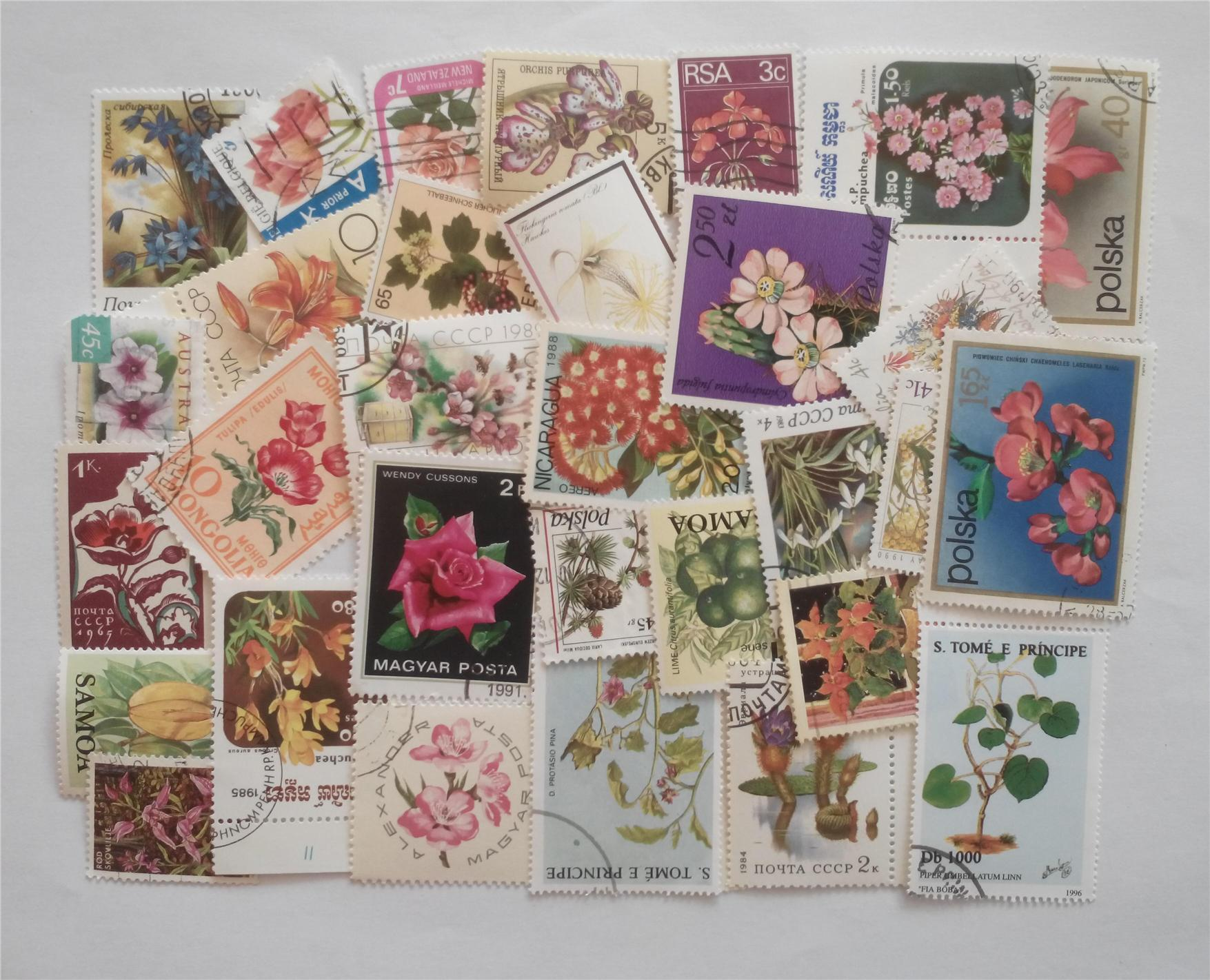 Themed stamps flowers 30 pcs