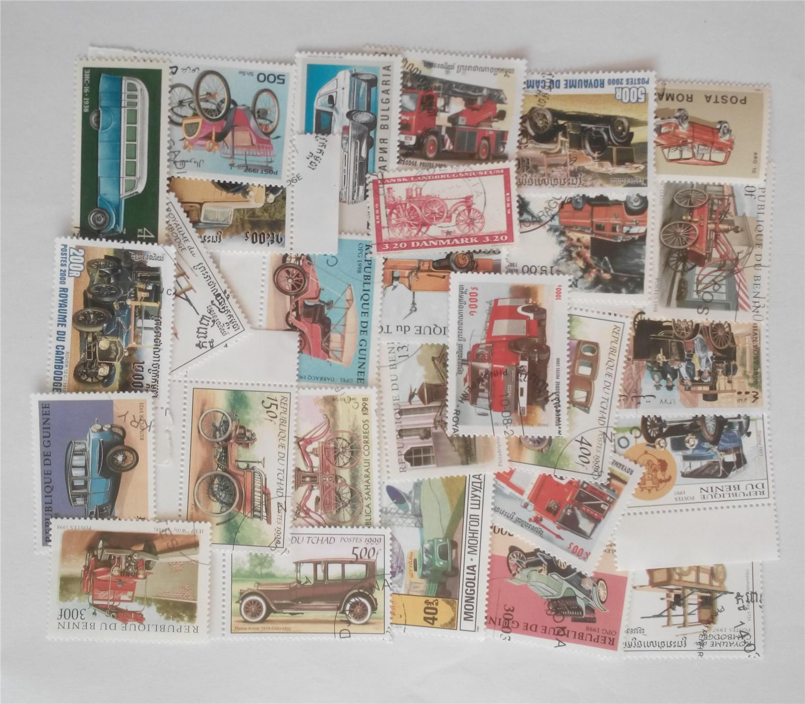 Themed stamps vehicles 30 pcs