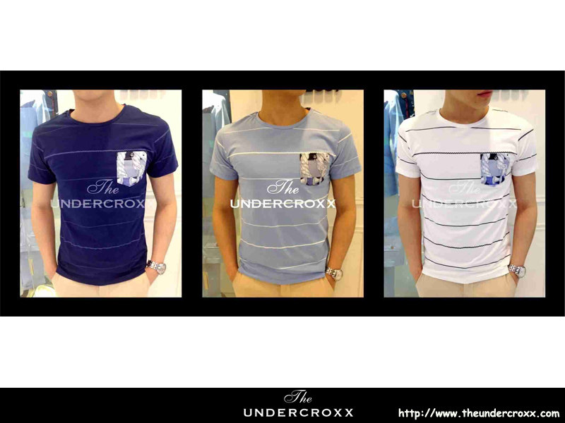 TheUndercroxx 3077S x Flower Print Pocket Anchors Button Stripe Tee (N..