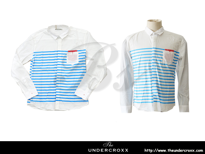 TheUndercroxx 6038L x Blue Stripe White Shirt (NEW)