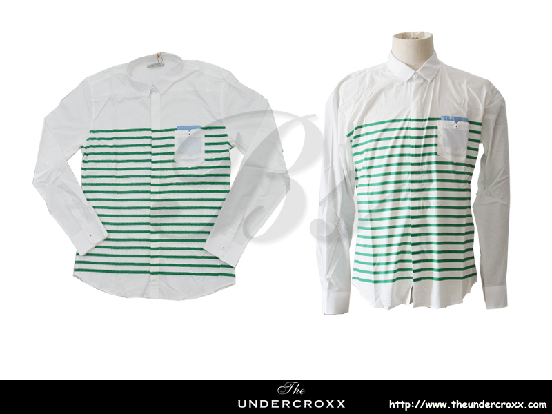 TheUndercroxx 6038L x Green Stripe White Shirt (NEW)