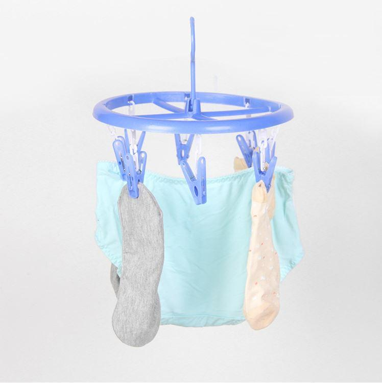 Thick Plastic Clothes Horse with 8 clips (L size) (Round)