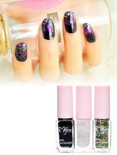 Three Gradient Color Nail Polish Magic Set (Black)