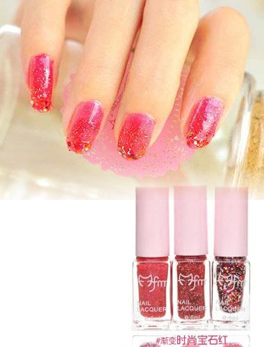 Three Gradient Color Nail Polish Magic Set (Red)