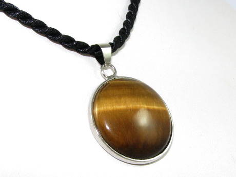 Round Tiger's Eye Pendant with Chain