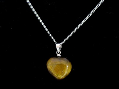 Tigers Eye Heart Shape Love Charm Pendant with Chain