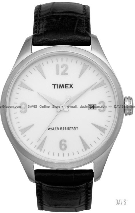 TIMEX T2N531 (M) Originals 1950's date leather strap white black