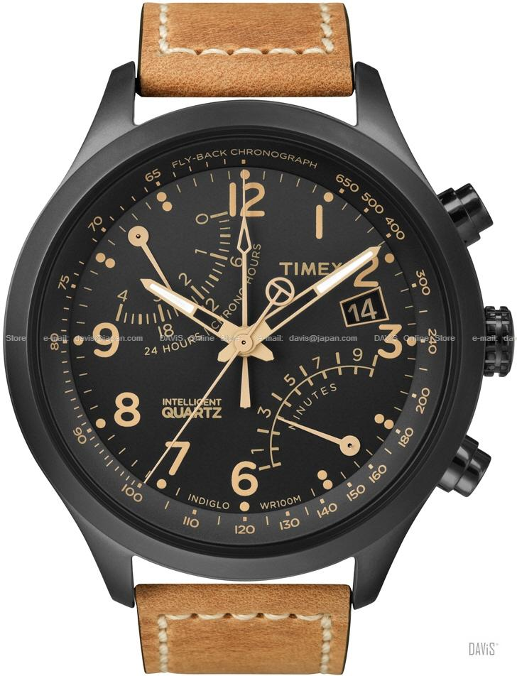TIMEX T2N700 (M) IQ Fly-Back Chronograph leather strap black