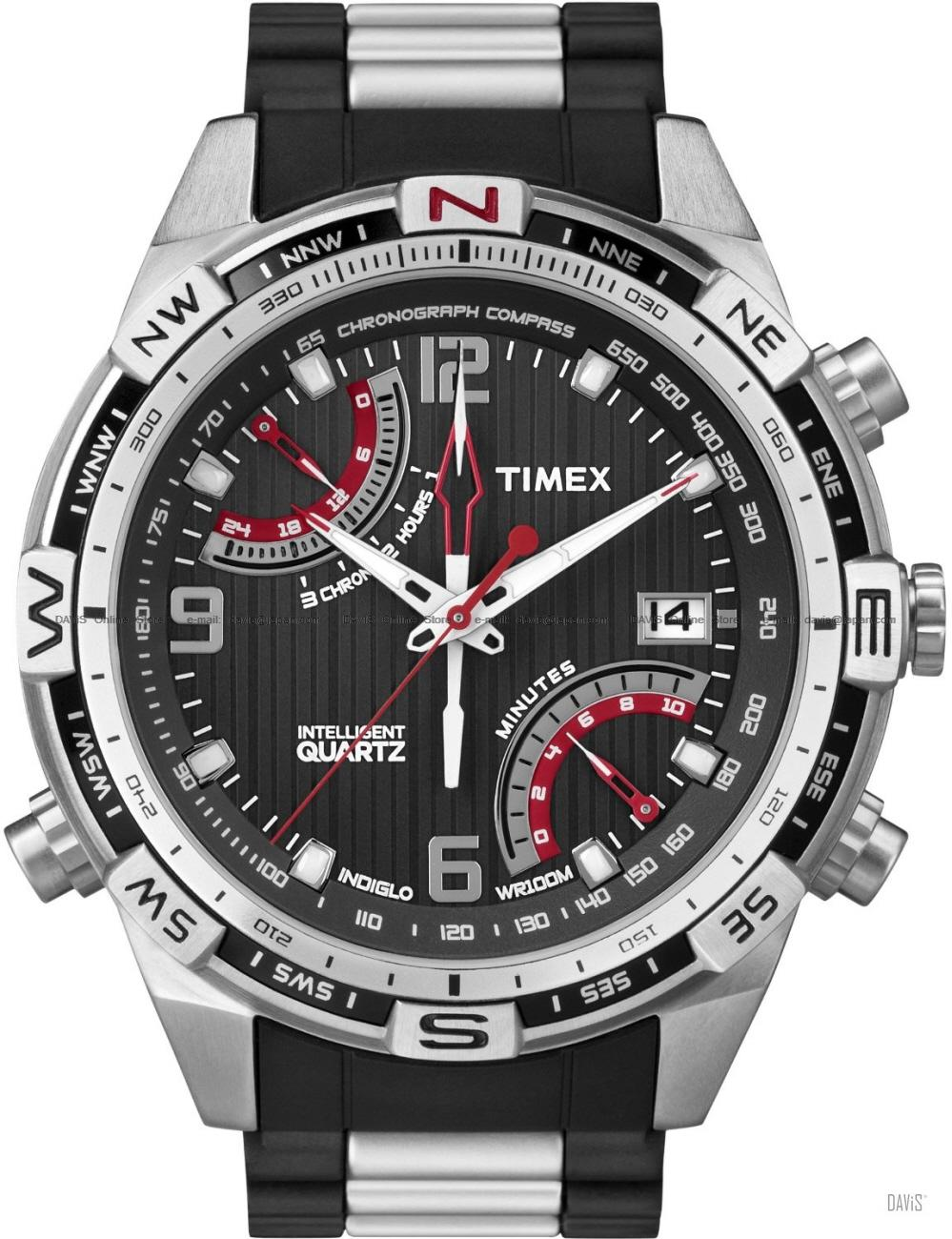 TIMEX T49868 (M) Intelligent Fly-Back Chrono Compass bracelet black