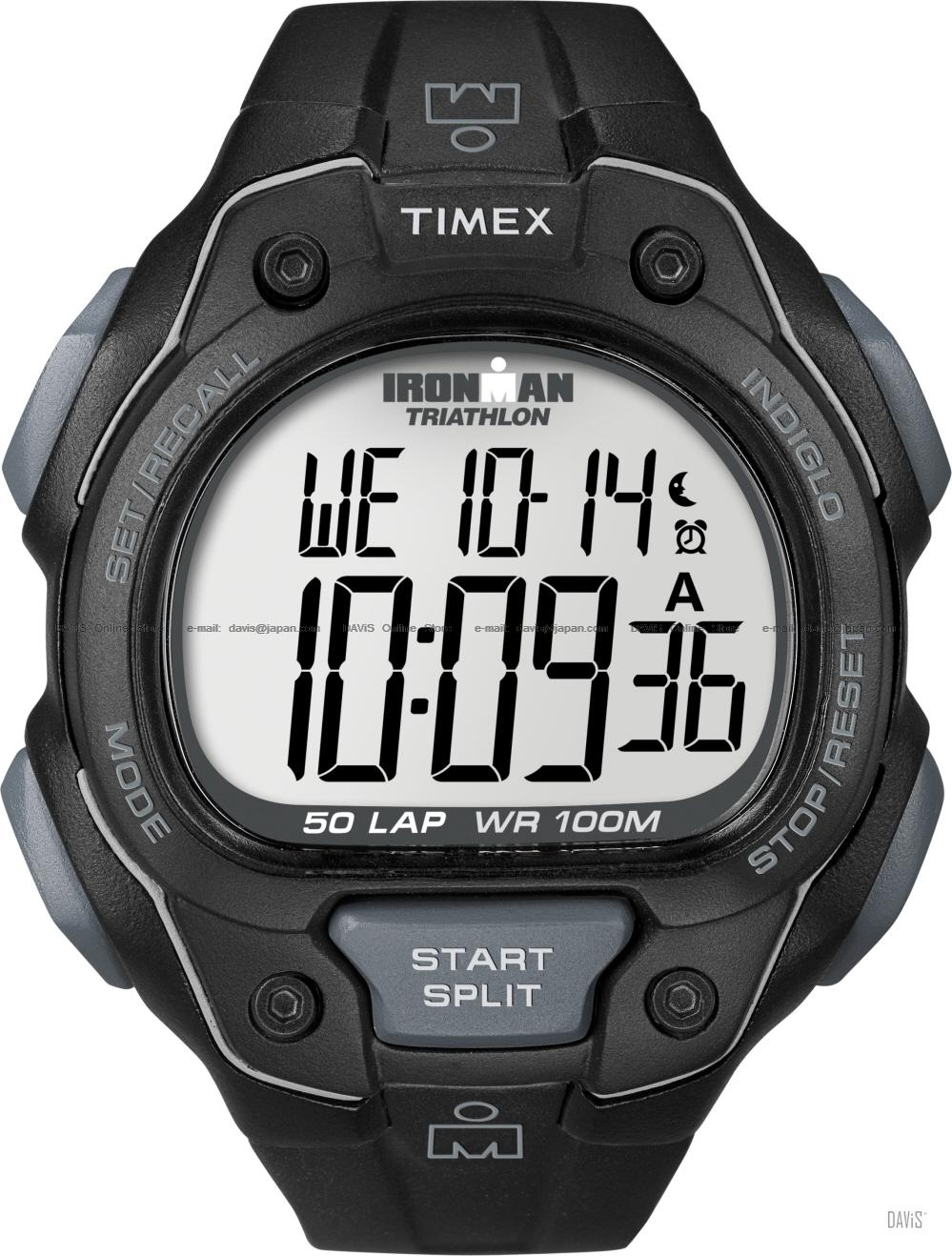 TIMEX T5K495 (M) IRONMAN Triathlon 50-Lap resin strap black grey