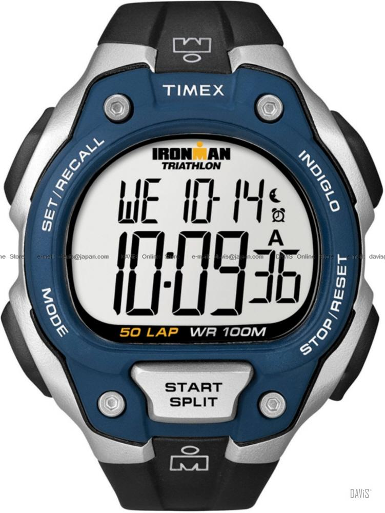 TIMEX T5K496 (M) IRONMAN Triathlon 50-Lap resin strap black blue