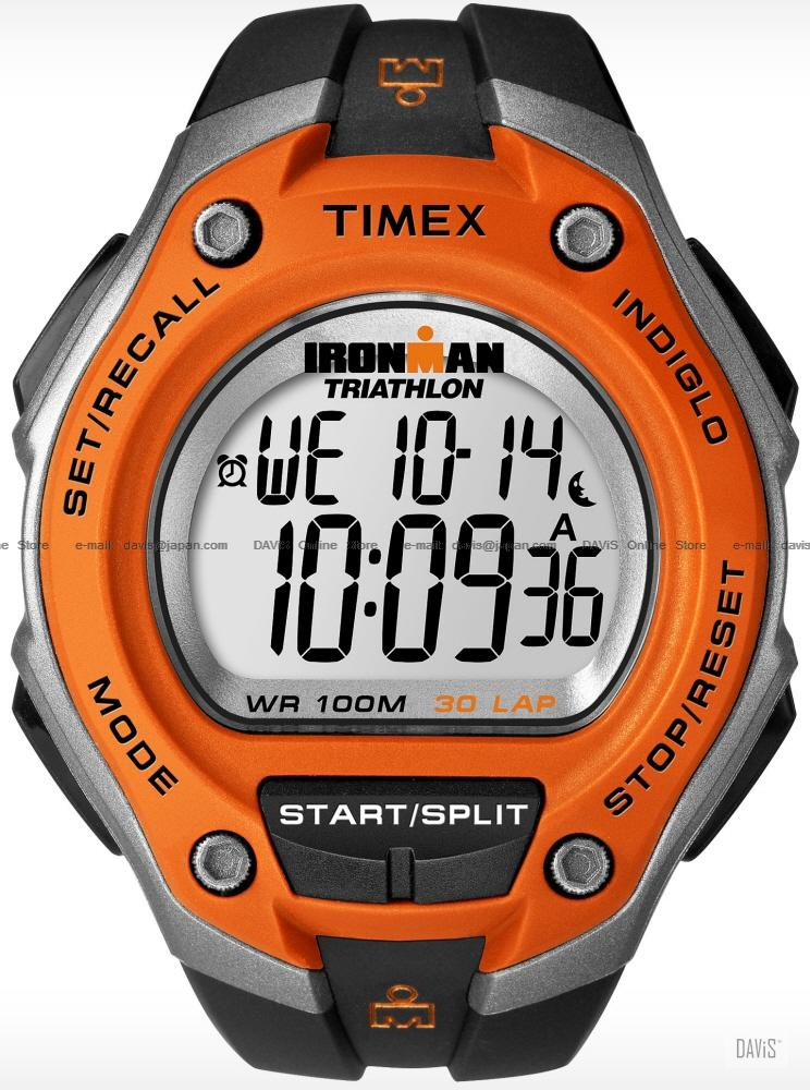 TIMEX T5K529 (M) IRONMAN Triathlon 30-Lap resin strap black orange