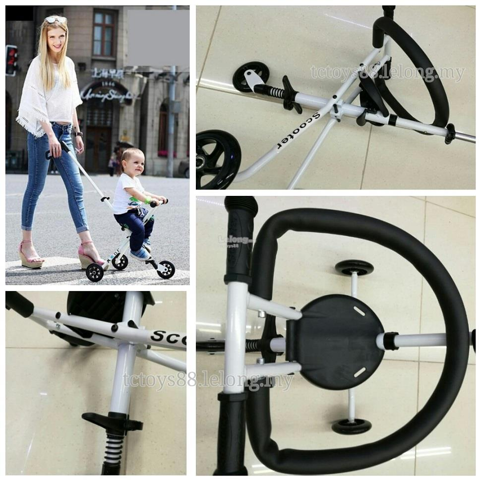 TODDLER HAND PUSH STROLLER. FOLDABLE & LIGHTWEIGHT. KIDS TRICYCLE.