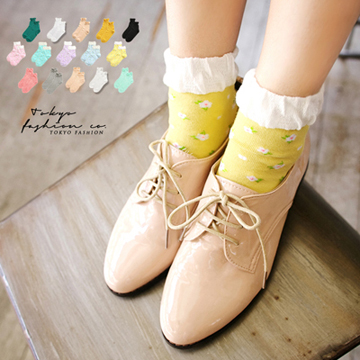 Tokyo Fashion - Floral Socks With Lace Detail-3015259