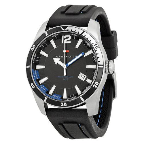 Tommy Hilfiger Black Dial Black Rubber Mens Watch 1790779