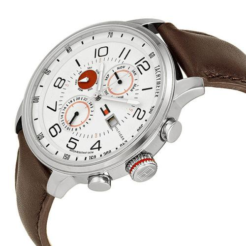 Tommy Hilfiger Sport White Dial Brown Leather Watch 1790858