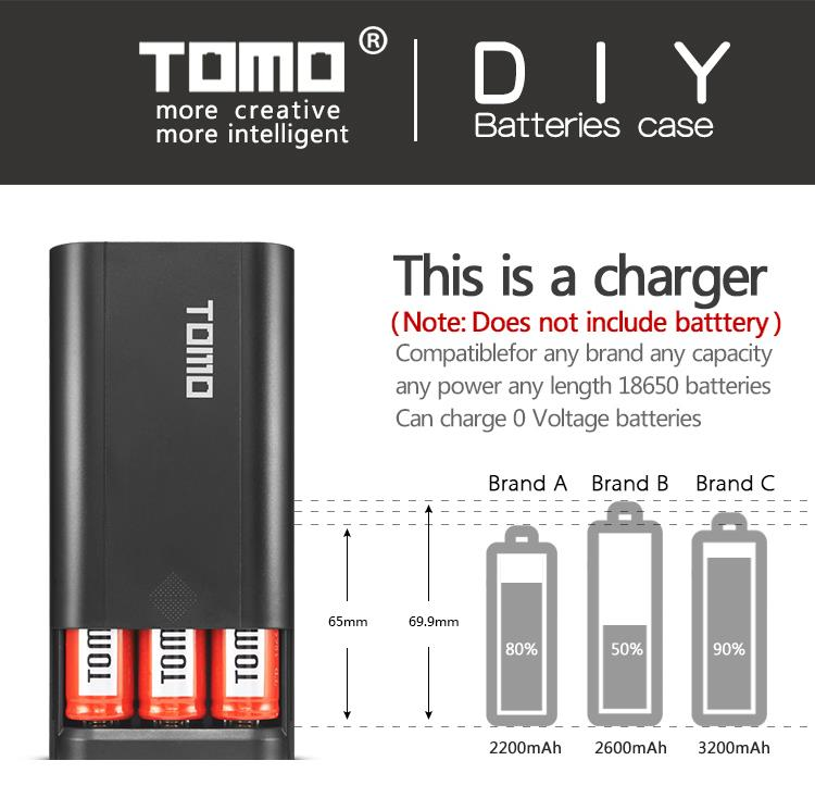 TOMO Vape charger powerbank for 18650 Battery