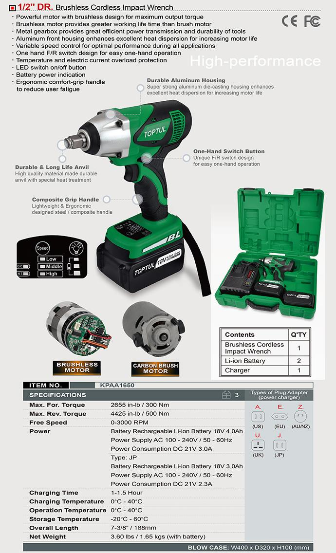 "Toptul 18V 1/2"" Dr. 500Nm Brushless Cordless Impact Wrench"