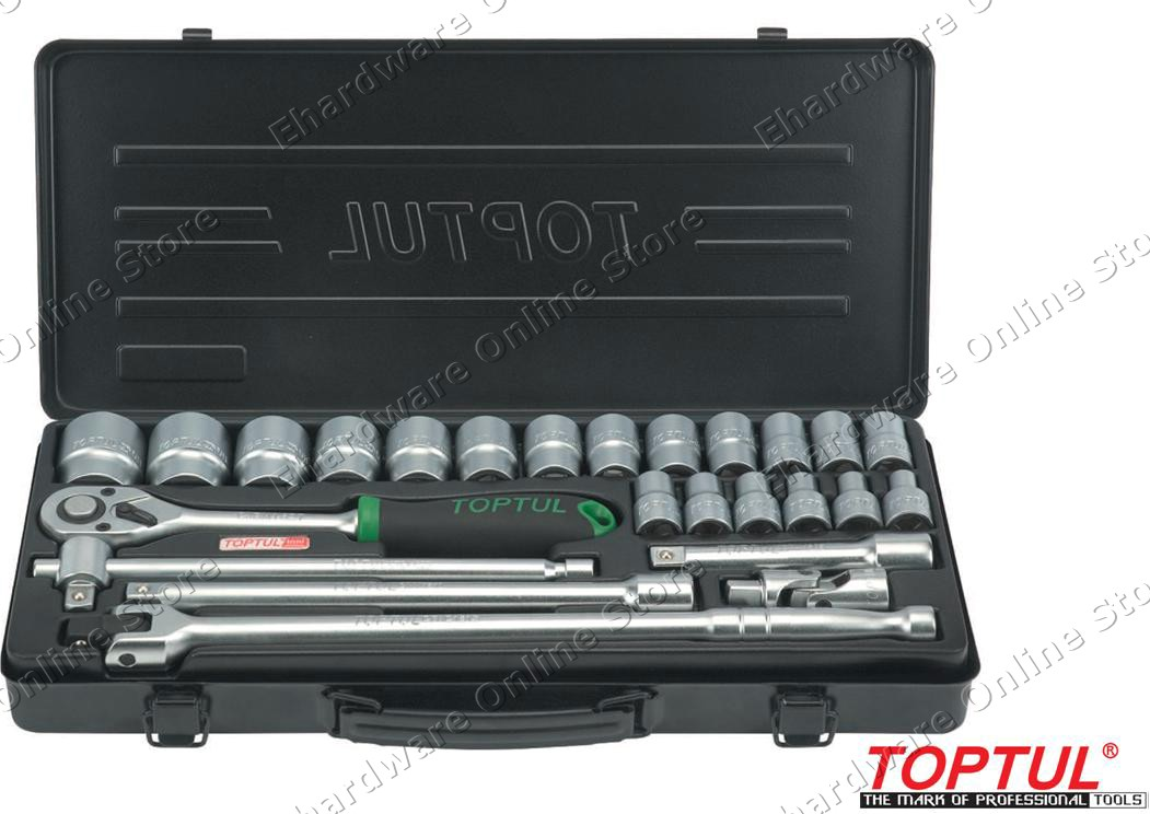 TOPTUL 25PCS 1/2'DR 6PT SOCKET SET (GBB2515)