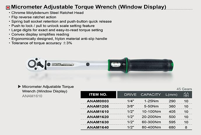 TOPTUL ANAM1610 Micrometer Adjustable Torque Wrench (Window Display)