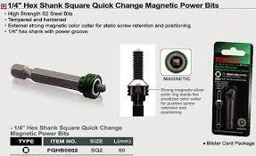 "TOPTUL FQHB0802  1/4"" Hex Shank Square Quick Change Magnetic Power Bit"