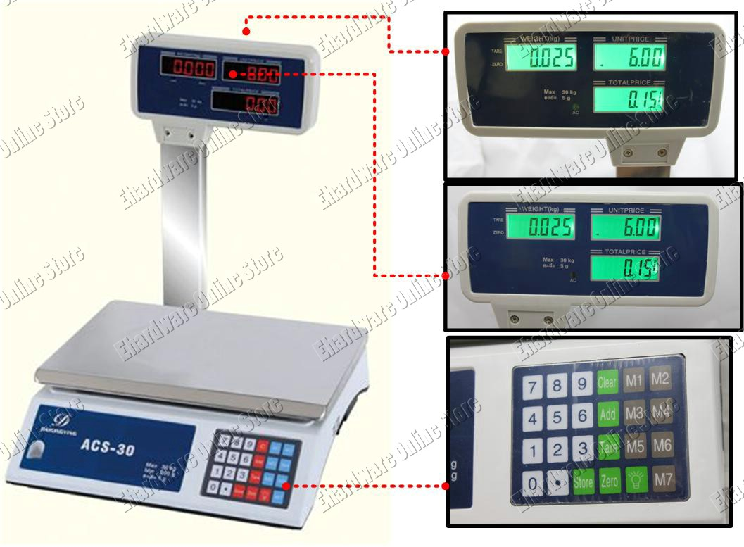 Tower LCD Dual Display Pricing Digital Scale 30kgx5g (ACS-759D)